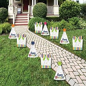 Cheerful Happy Birthday Lawn Decorations - Outdoor Colorful Birthday Party Yard Decorations - 10 Piece