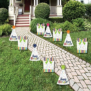 Cheerful Happy Birthday Lawn Decorations - Outdoor Colorful Birthday Party Yard Decorations - 10 Piece