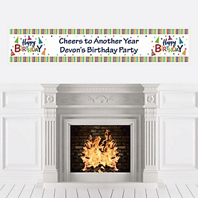 Cheerful Happy Birthday - Personalized Colorful Birthday Party Banner