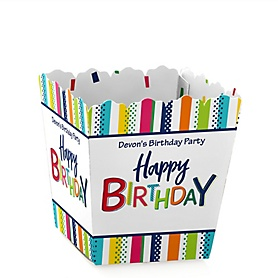 Cheerful Happy Birthday - Party Mini Favor Boxes - Personalized Colorful Birthday Party Treat Candy Boxes - Set of 12