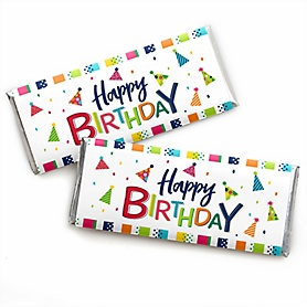 Cheerful Happy Birthday -  Candy Bar Wrappers Colorful Birthday Party Favors - Set of 24