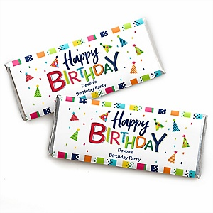 Cheerful Happy Birthday - Personalized Candy Bar Wrappers Colorful Birthday Party Favors - Set of 24