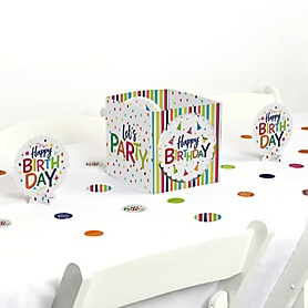 Cheerful Happy Birthday - Colorful Birthday Party Centerpiece and Table Decoration Kit