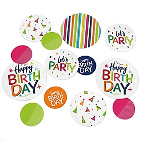 Cheerful Happy Birthday - Colorful Birthday Party Giant Circle Confetti - Colorful Birthday Party Decorations - Large Confetti 27 Count