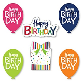 Cheerful Happy Birthday - DIY Shaped Party Paper Cut-Outs - 24 ct