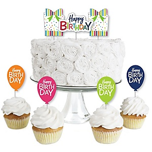 Cheerful Happy Birthday - Dessert Cupcake Toppers - Colorful Birthday Party Clear Treat Picks - Set of 24