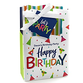 Cheerful Happy Birthday - Personalized Colorful Birthday Party Favor Boxes - Set of 12