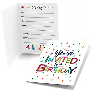 Cheerful Happy Birthday - Colorful Birthday Party Fill In Invitations - 8 ct