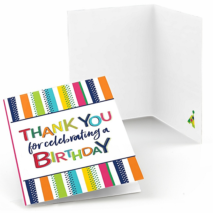 Cheerful Happy Birthday - Colorful Birthday Party Thank You Cards - 8 ct