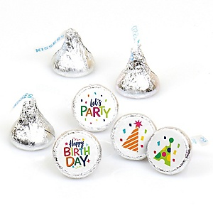 Cheerful Happy Birthday - Round Candy Labels Colorful Birthday Party Favors - Fits Hershey's Kisses - 108 ct