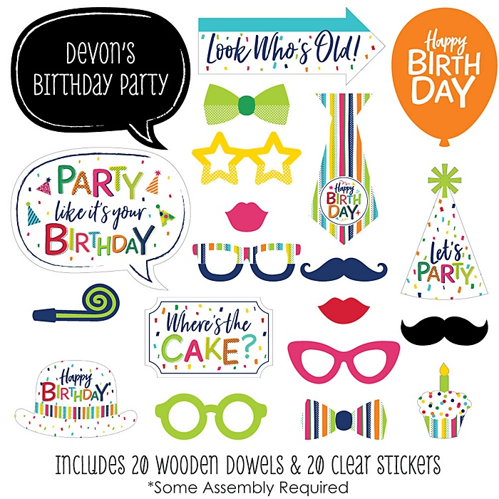 Cheerful Happy Birthday - 20 Piece Colorful Birthday Party Photo Booth Props Kit