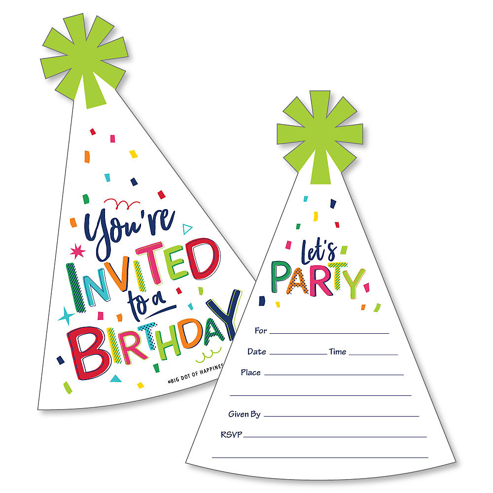 Cheerful Happy Birthday - Shaped Fill-In Invitations - Colorful ...
