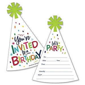 Cheerful Happy Birthday - Shaped Fill-In Invitations - Colorful Birthday Party Invitation Cards with Envelopes - Set of 12