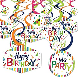 Cheerful Happy Birthday - Colorful Birthday Party Hanging Decor - Party Decoration Swirls - Set of 40