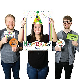 Cheerful Happy Birthday - Personalized Colorful Birthday Party Selfie Photo Booth Picture Frame & Props - Printed on Sturdy Material