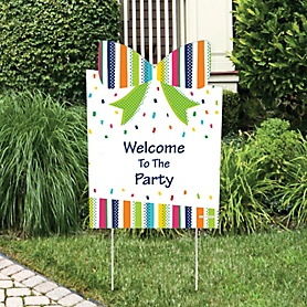 Cheerful Happy Birthday - Party Decorations - Colorful Birthday Party Personalized Welcome Yard Sign