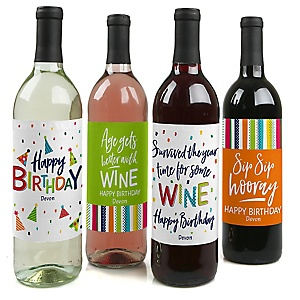 Cheerful Happy Birthday - Decorations for Women and Men - Wine Bottle Label Colorful Birthday Party Gift - Set of 4