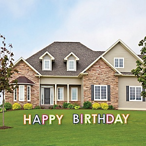 Cheerful Happy Birthday - Yard Sign Outdoor Lawn Decorations - Happy Birthday Yard Signs