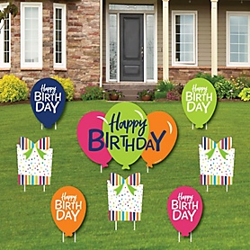 Cheerful Happy Birthday - Cupcake & Balloon Yard Sign & Outdoor Lawn Decorations - Birthday Yard Signs - Set of 8