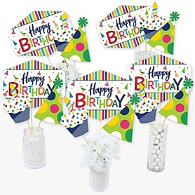 Cheerful Happy Birthday - Colorful Birthday Party Centerpiece Sticks - Table Toppers - Set of 15