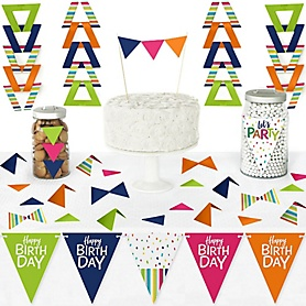 Cheerful Happy Birthday - DIY Pennant Banner Decorations - Colorful Birthday Party Triangle Kit - 99 Pieces