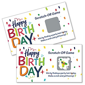 Cheerful Happy Birthday - Colorful Birthday Party Game Scratch Off Cards - 22 Count