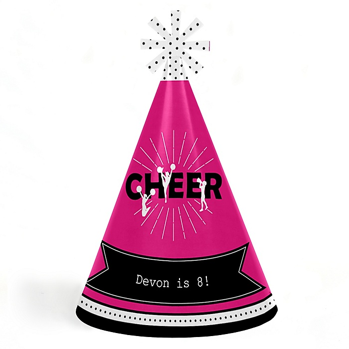 We've Got Spirit - Cheerleading - Personalized Cone Happy Birthday Party Hats for Kids and Adults - Set of 8 (Standard Size)