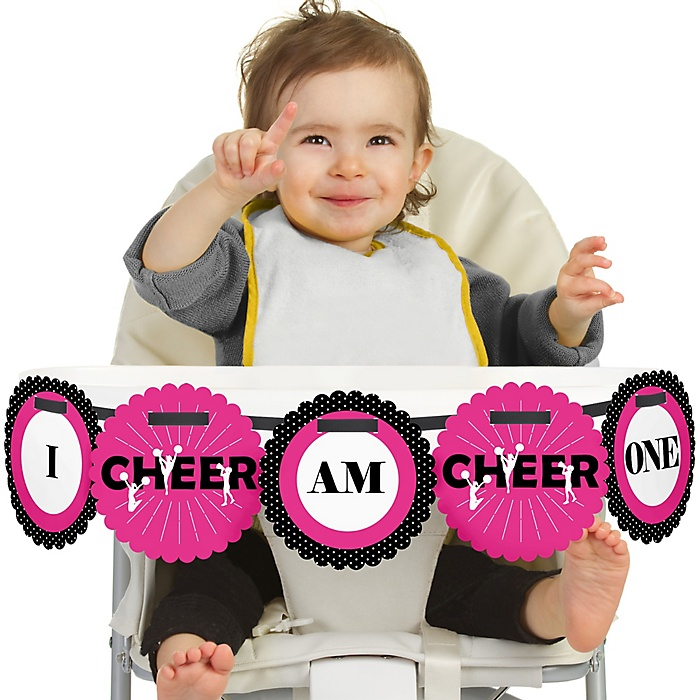 We've Got Spirit - Cheerleading 1st Birthday - I am One - First Birthday High Chair Birthday Banner