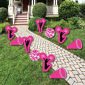 We've Got Spirit - Cheerleading - Lawn Decorations - Outdoor Birthday Party or Cheerleader Party Yard Decorations - 10 Piece