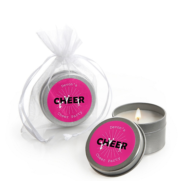 We've Got Spirit - Cheerleading - Personalized Birthday Party or Cheerleader Party Candle Tin Favors - Set of 12