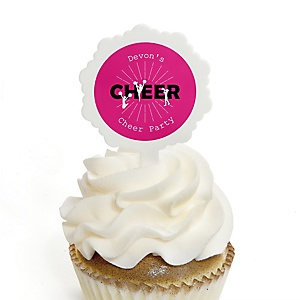 We've Got Spirit - Cheerleading - Cupcake Picks with Personalized Stickers - Birthday Party or Cheerleader Party Cupcake Toppers - 12 ct