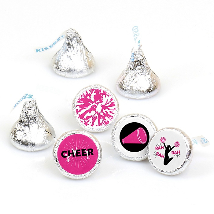 We've Got Spirit - Cheerleading - Birthday Party or Cheerleader Party Round Candy Sticker Favors - Labels Fit Hershey's Kisses  - 108 ct
