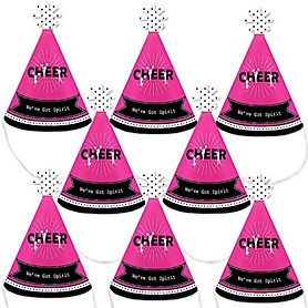 We've Got Spirit - Cheerleading - Mini Cone Birthday Party or Cheerleader Party Hats - Small Little Party Hats - Set of 8