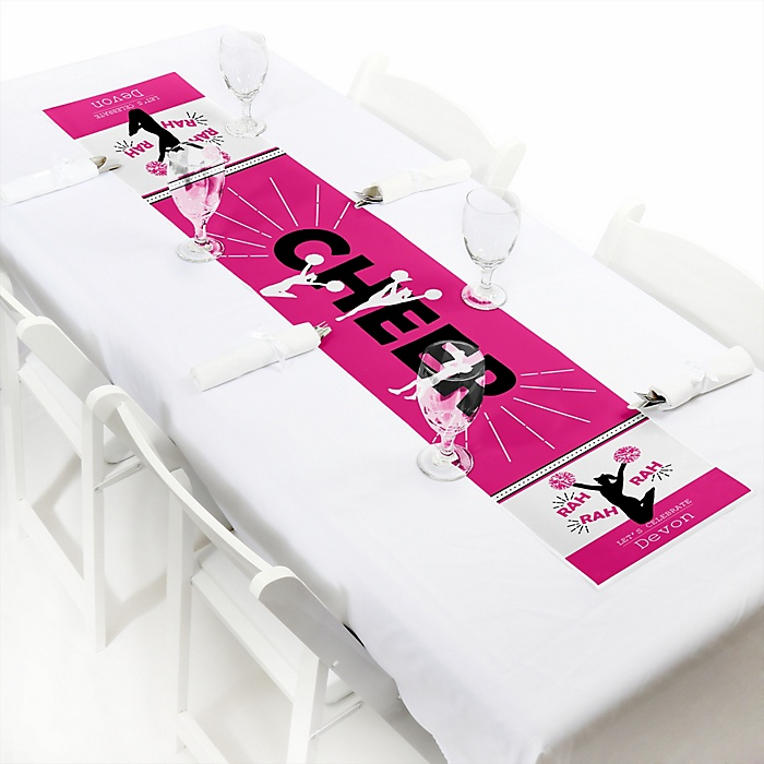 """We've Got Spirit - Cheerleading - Personalized Petite Birthday Party or Cheerleader Party Table Runner - 12"""" x 60"""""""