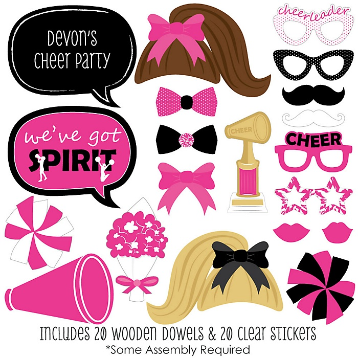 We've Got Spirit - Cheerleading - 20 Piece Birthday Party or Cheerleader Party Photo Booth Props Kit