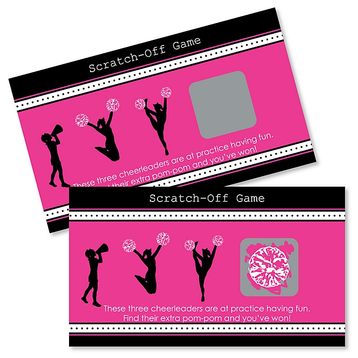 We've Got Spirit - Cheerleading - Birthday Party or Cheerleader Party Scratch Off Cards - 22 Count
