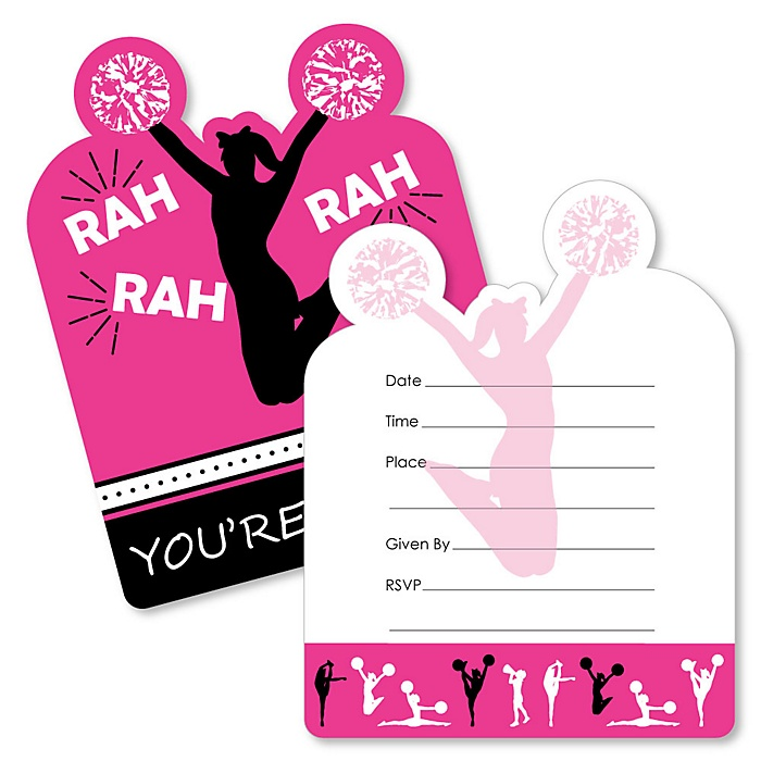 We've Got Spirit - Cheerleading - Shaped Fill-In Invitations - Birthday Party or Cheerleader Party Invitation Cards with Envelopes - Set of 12