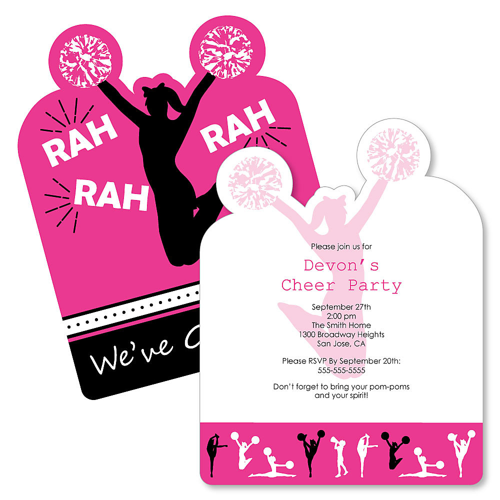 We Ve Got Spirit Cheerleading Shaped Cheerleader Party Invitations