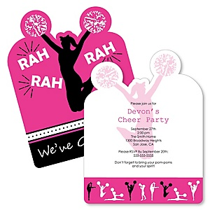 We've Got Spirit - Cheerleading - Shaped Cheerleader Party Invitations - Set of 12