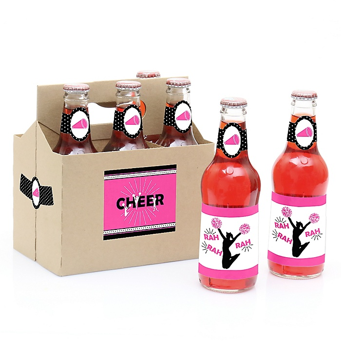 We've Got Spirit - Cheerleading - Decorations for Women and Men - 6 Cheer Soda/Beer Bottle Label Stickers and 1 Carrier