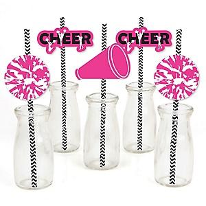 We've Got Spirit - Cheerleading - Paper Straw Decor - Birthday Party or Cheerleader Party Striped Decorative Straws - Set of 24