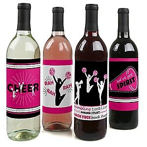 We've Got Spirit - Cheerleading - Cheerleader Party Decorations for Women and Men - Wine Bottle Label Stickers - Set of 4