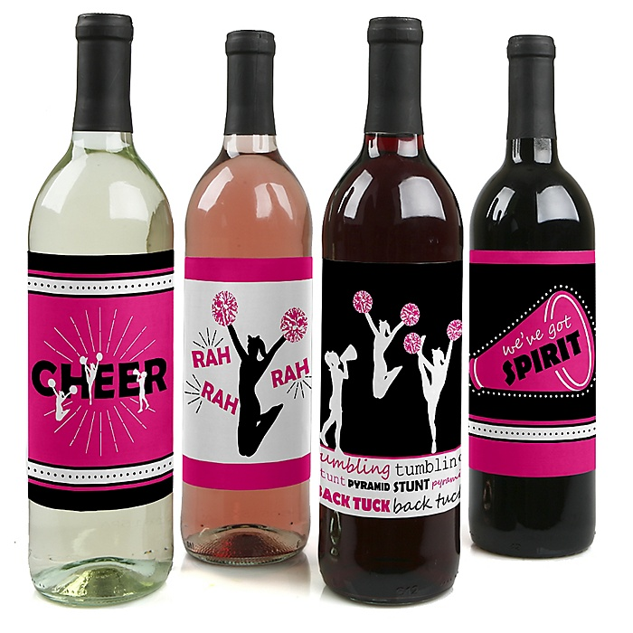 We've Got Spirit - Cheerleading - Cheerleader Party Decorations for Women and Men - Wine Bottle Label Stickers - Set of 4