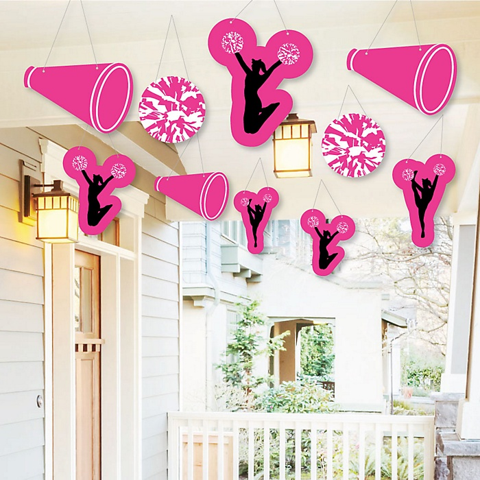 Hanging We've Got Spirit - Cheerleading - Outdoor Birthday Party or Cheerleader Party Hanging Porch & Tree Yard Decorations - 10 Pieces