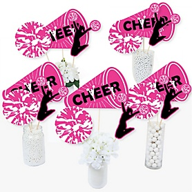 We Got Spirit - Cheerleading - Birthday Party or Cheerleader Party Centerpiece Sticks - Table Toppers - Set of 15