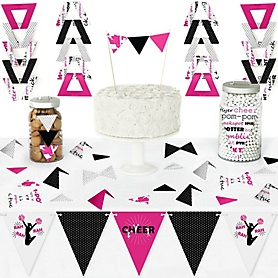 We've Got Spirit - Cheerleading - DIY Pennant Banner Decorations - Birthday Party or Cheerleader Party Triangle Kit - 99 Pieces