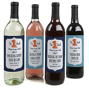 Cheers to You, Dad - Decorations for Women and Men - Wine Bottle Label Gifts for Dad - Set of 4