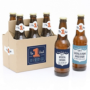 Cheers to You, Dad - Decorations for Women and Men - 6 Beer Bottle Labels and 1 Carrier Father's Day Gift
