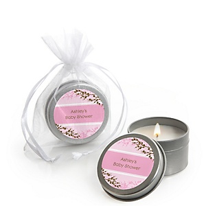 Baby Cherry Blossom - Candle Tin Personalized Baby Shower Favors