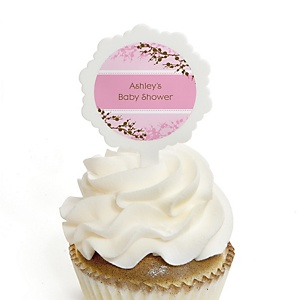 Baby Cherry Blossom - 12 Cupcake Picks & 24 Personalized Stickers - Baby Shower Cupcake Toppers